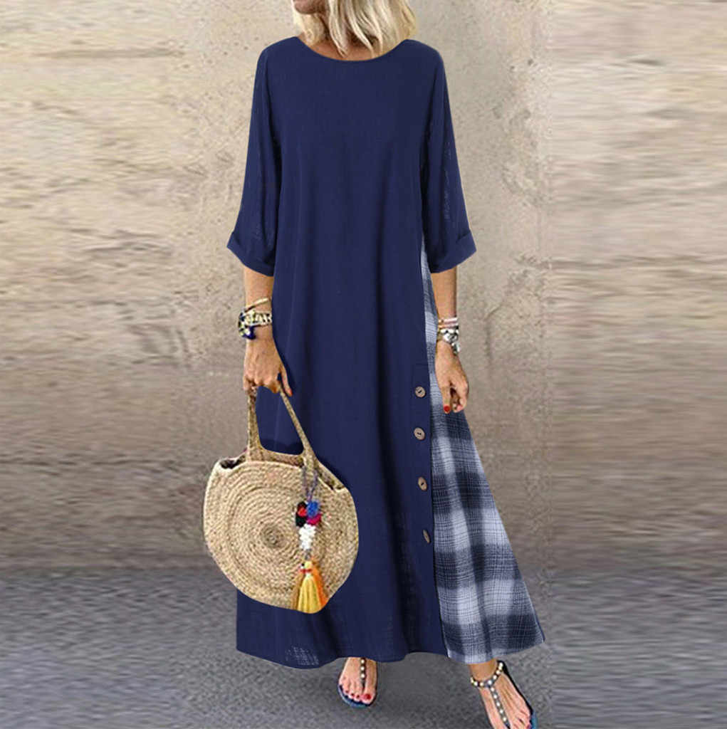 Dress Women Casual Patchwork Sleeves O-Neck Button High Low Hem Plus Size Maxi Dresses Vestidos Robe Femme D717