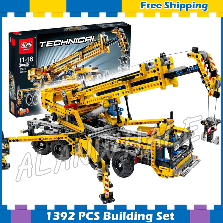 1392pcs Techinic 2in1 Mobile Crane Arms 20040 DIY 8 Wheels Model Building Kit Blocks Gifts Collection Sets Compatible With lego цена