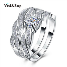Vissap NEW Hot White Gold Plated Rings for women bijoux lady vintage engagement wedding ring Accessories Wholesale VSR127