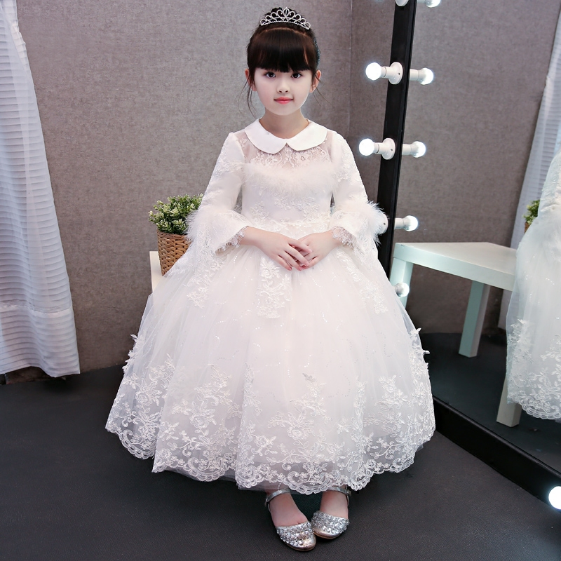 2017New Arrival High Quality Children Girls White Color Princess Party Long Dress Kids Thick Warm Wedding Birthday Winter Dress trendy see through off the shoulder long sleeve lace blouse for women