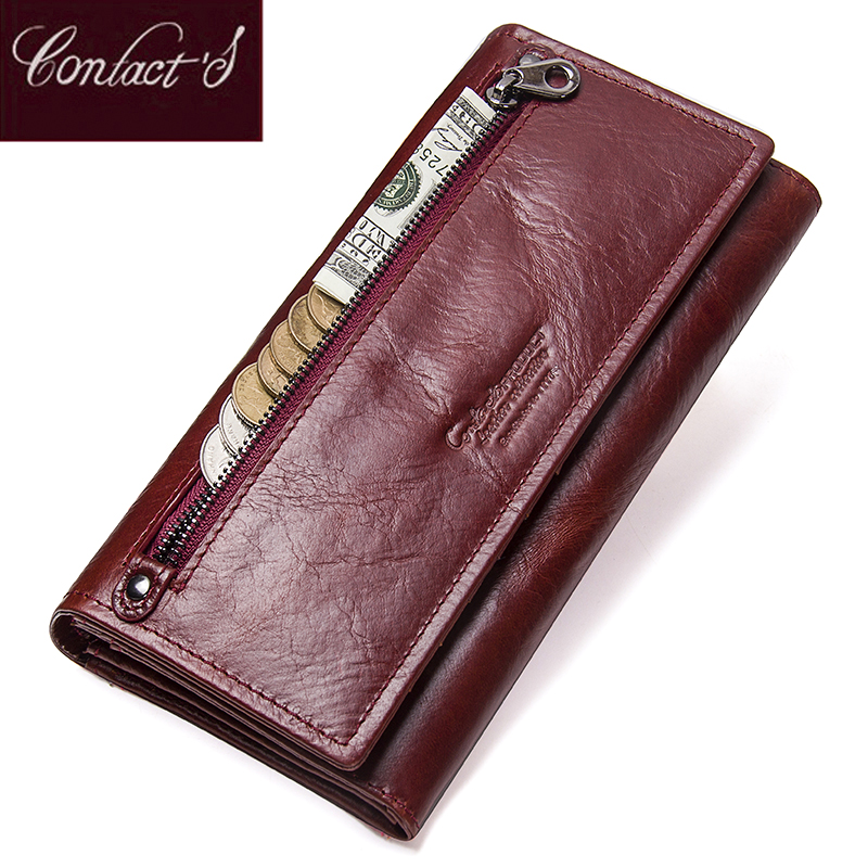 Contact's Genuine Leather Women Long Purse Female Clutches Money Wallets Brand Design Handbag for Cell Phone Card Holder Wallet women leather wallets v letter design long clutches coin purse card holder female fashion clutch wallet bolsos mujer brand