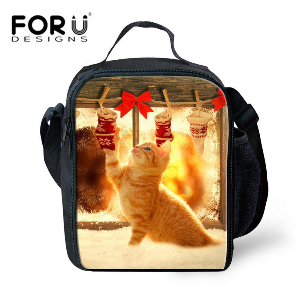 Christmas Gift Kids Picnic Bags for Girls Kitty Cat Printing Lunch Thermal Insulate Cooler Bag Outdoor Small Snack Bag For Kids
