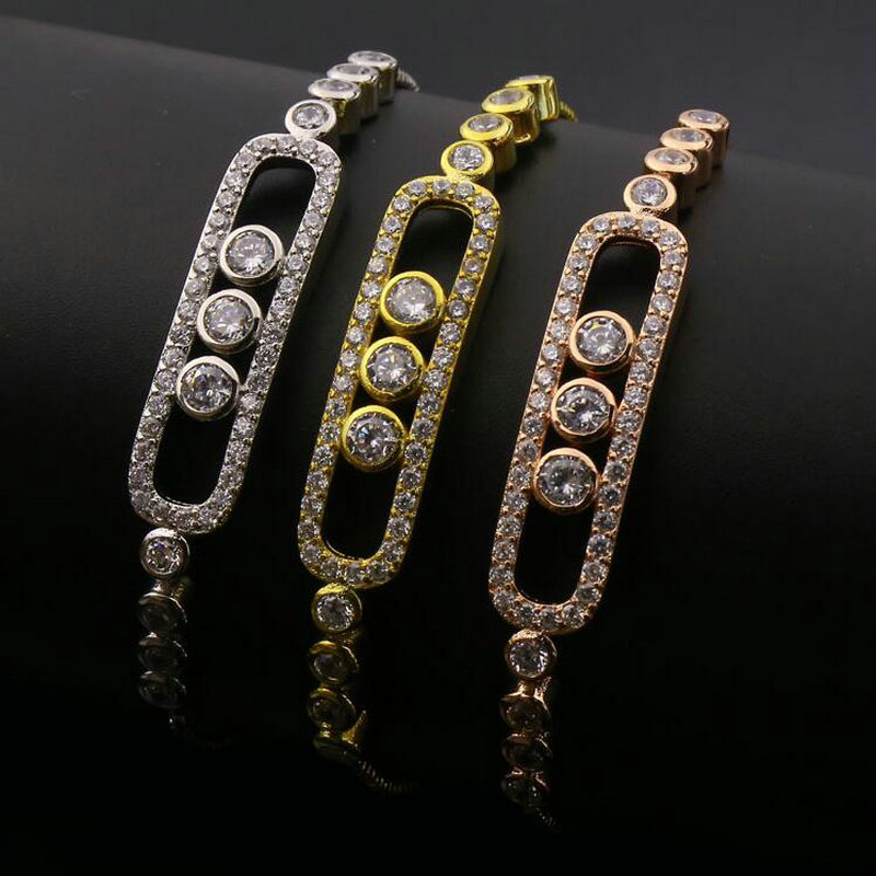 ANILLO Brand 2017 New Style Women Men Bracelets Linear 3 Grain Micro Pave Simulated Diamond Expansion