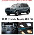 Free Shipping 6Pcs/Lot Xenon White Premium Package Kit LED Interior Lights For Hyundai Tucson 2005-2009