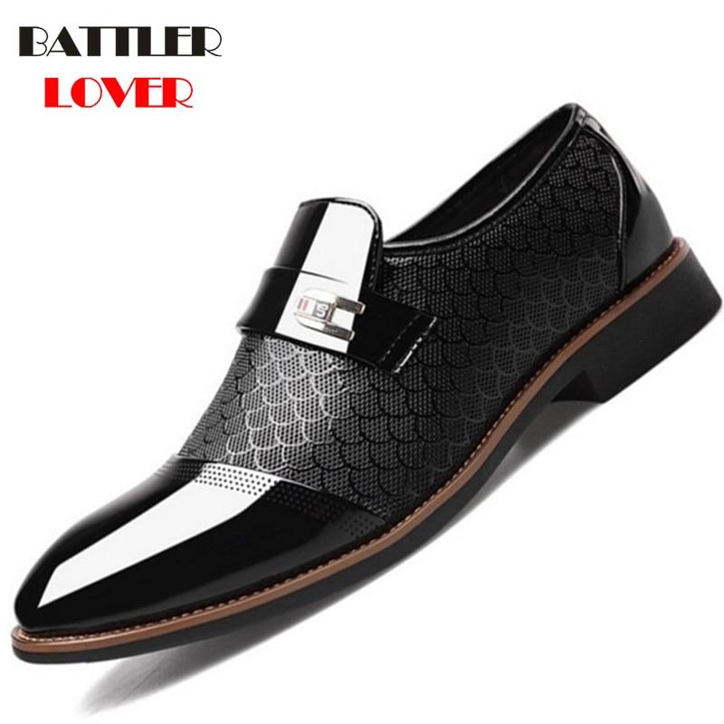 Men Leather Dress Shoes Men Fashion Business Flat Wedding Shoes Mens Formal Casual Shoes Oxfords Shoes For Man Big Size 38-48