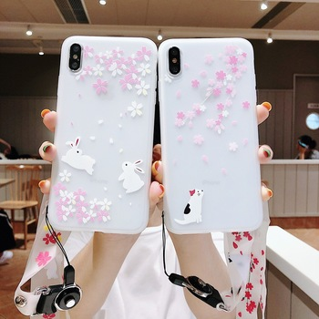 Case For iPhone 6 6S 7 8 Plus X XS Max XR Soft TPU Cherry Cat Rabbit Pattern with Long Strap Lanyard Matte Cover