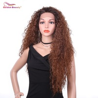 Long Kinky Curly Brown Wig Synthetic Lace Front Wig Natural Hair African American Wigs Ombre Red Wig For Women Golden Beauty