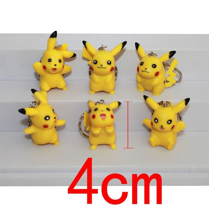 6pcs/lot Anime <font><b>Action</b></font> <font><b>Figure</b></font> <font><b>Pikachu</b></font> Keychain <font><b>Poke</b></font> <font><b>Monster</b></font> <font><b>Pikachu</b></font> Metal Charms <font><b>Pikachu</b></font> <font><b>Figure</b></font> Keyring Pendants PVC Kids <font><b>Toys</b></font>
