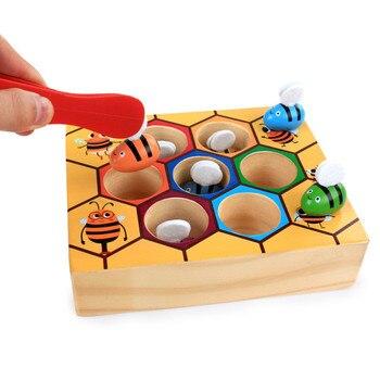 Juguetes Educativos de madera inclinados Montessori, colmena de abejas de trabajo duro, juegos para niños, juguetes con clips