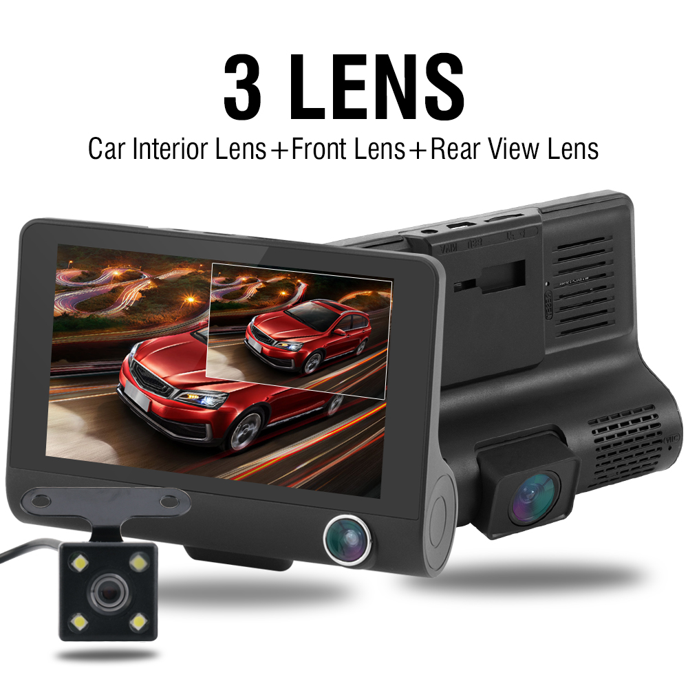 Image 2 - Car DVR Dash Camera Full HD 1080P 4.0 Inch Three Camera IPS Screen Car Camera Dash Cam Driving Video Recorder Car accessories-in DVR/Dash Camera from Automobiles & Motorcycles