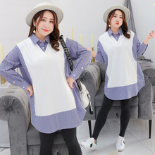 New large size fake two-piece shirt striped womens dress in autumn 2018