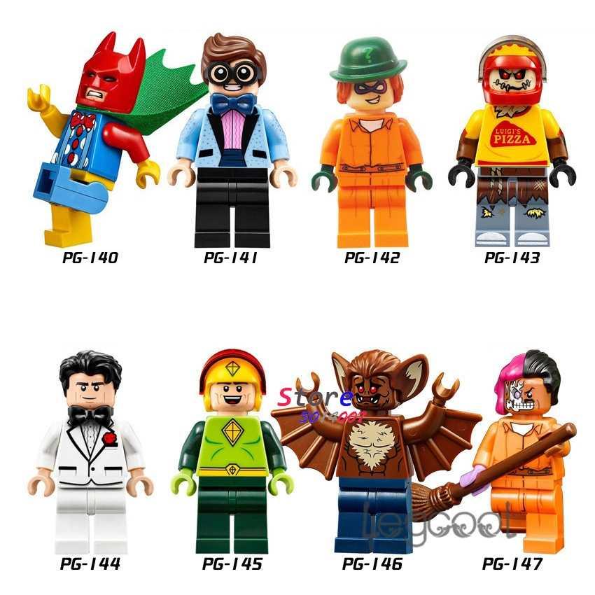 1PCS modelo blocos de construção de super herói Batman Robin Charada Espantalho Bruce Wayne Homem Homem-Morcego Pipa Dois brinquedos Rosto para o presente das crianças