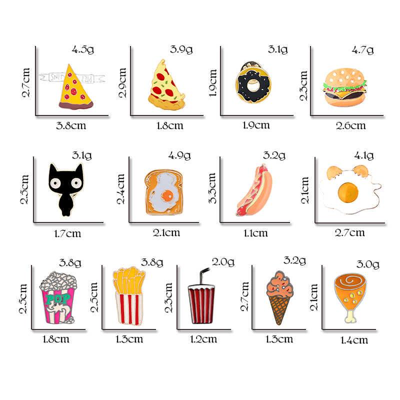 الخبز همبرغر البطاطس البيتزا للنساء جاكيتات التلبيب دبابيس Omelette الفشار الكرتون الوجبات السريعة المينا دبوس الرجال طوق مجوهرات هدايا