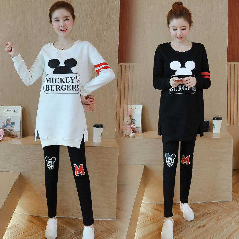 New autumn and winter clothing Korean fashion pregnant women suit Mickey pattern printing shirt + stomach lift pants two-piece skinny blazer and pants two piece suit page 5
