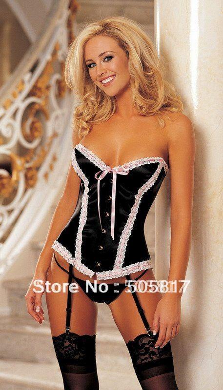 e1eae76df Free shipping sexy slim lace satin corset G-string garter belt lady body  shaper strapless lingerie bustier Black pink MZ2172