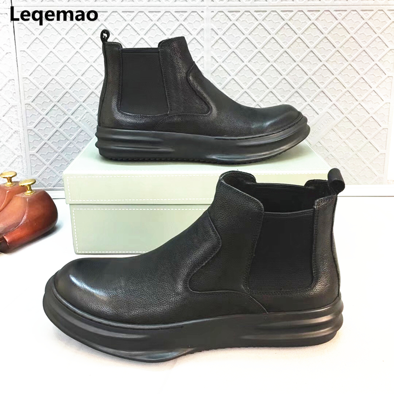 Fashion Spring Autumn Men Comfortable Round Toe Slip-on Man Casual Shoes Genuine Leather Boots Leqemao brand Shoes Size 38-44 urbanfind fashion men brand oxfords quality leather shoes size 37 44 for spring summer autumn casual lace up man footwear