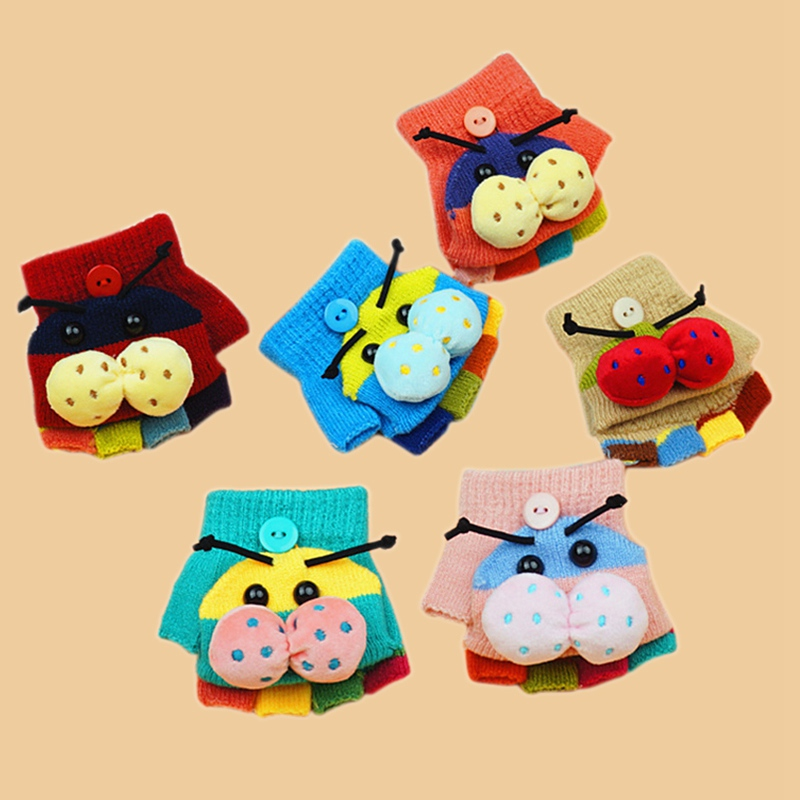 New Arrival Kids Winter Gloves Baby Boys Girls Cartoon Insect Flip Mittens Children Warm Knitted Mitts 1-3 Years Random Color