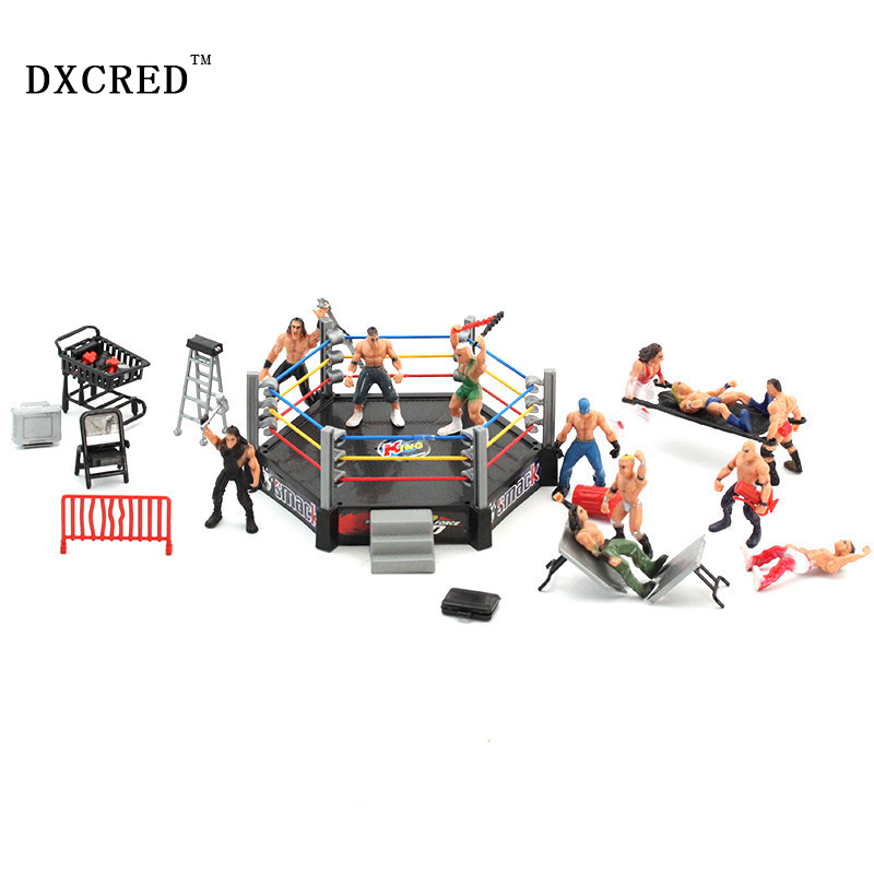 High Quality Classic Wrestling Gym Sport Club Model The Wrestler Athlete Figure Building Wrestler Arena Model SET Boy Toy gift high quality classic toy super movable wrestler occupation wrestling fighter action figure mask toys doll accessories