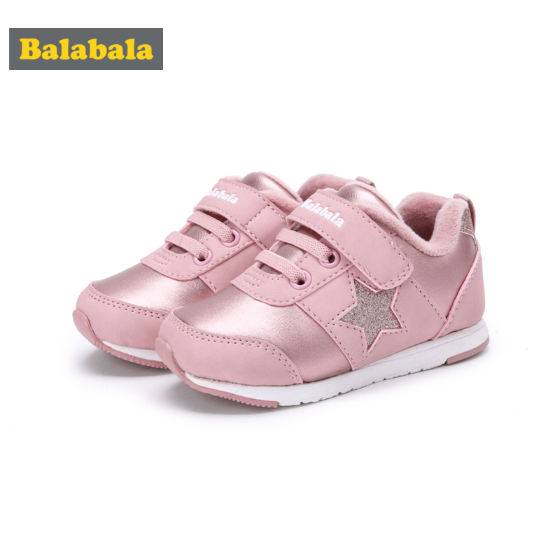 Balabala Toddler Girl Fleece-Lined Glitter Star Sneakers with Hook-and-loop Strap for Kids Padded Collar Fleece InsoleBalabala Toddler Girl Fleece-Lined Glitter Star Sneakers with Hook-and-loop Strap for Kids Padded Collar Fleece Insole