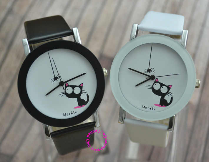 Funny Cute Kids Cat Fashion Watch Women 2017 Spider New Black White Pink Wristwatch Hour Lady Child Girl Dress Causal Quartz Hot