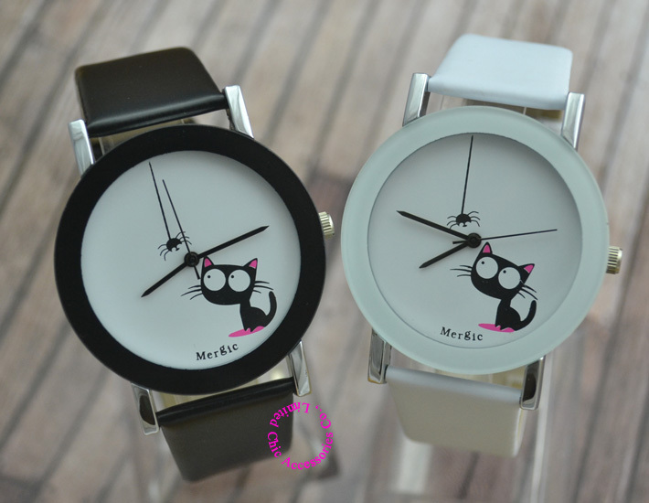 Զվարճալի Cute Kids Cat Fashion Watch Women 2017 Spider New Black White Pink Pink Wristwatch Hour Lady Child Girl Dress Up Causeal Quartz Hot