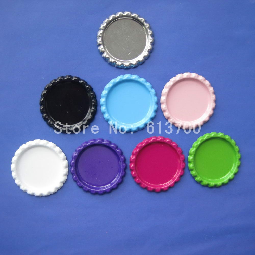 Wholesale 500 pcs 8 colors flattened both side colored for Large bottle caps for crafts