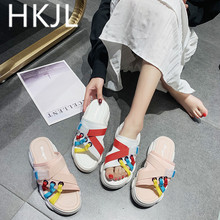 HKJL Slippers female 2019 summer new casual wild thick-soled platform shoes wearing Korean version of drag A517