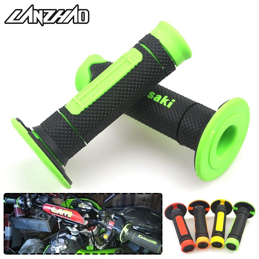 Green 7/8 22mm Motorcycle Rubber Hand Grips Handle Gel for Kawasaki KLX250 KLR650 KLX140 KLX110 KX65 KX85 KX100 NINJA 400 650 грипсы ethic rubber grips blue