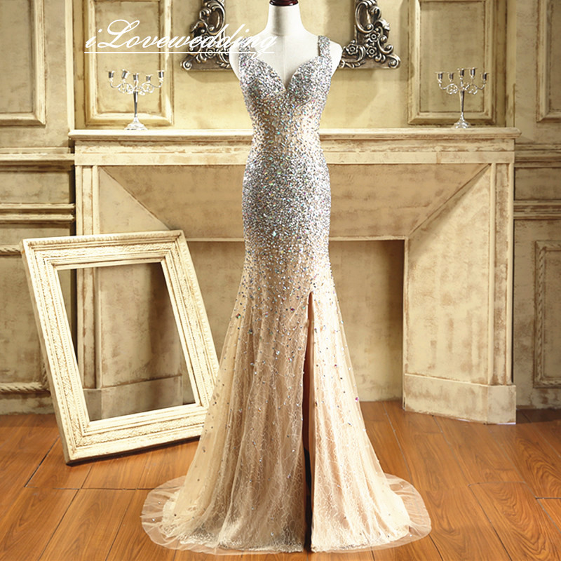 Sexy Crystal bead Champagne Mermaid   Prom     Dress   Rhinestone Open Back Side Split Court Train Tulle Party Evening Gown In Stocks