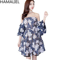 HAMALIEL Blu Ricamo Floreale Slash Neck Party Dress Women 2018 Runway Estate Della Maglia Flare Manica Sexy Senza Spalline Mini Vestito