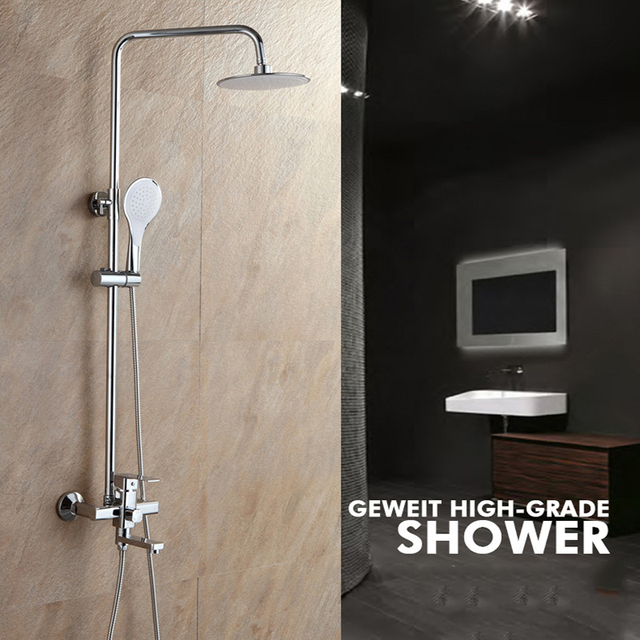 Shower Set Bathroom Thermostatic Mixer Round Head Shower Wall ...