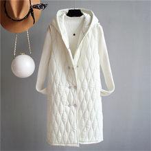 Geometric Pattern Cotton Coats Women's Long Section 2019 Autumn Winter New Hooded Sleeveless