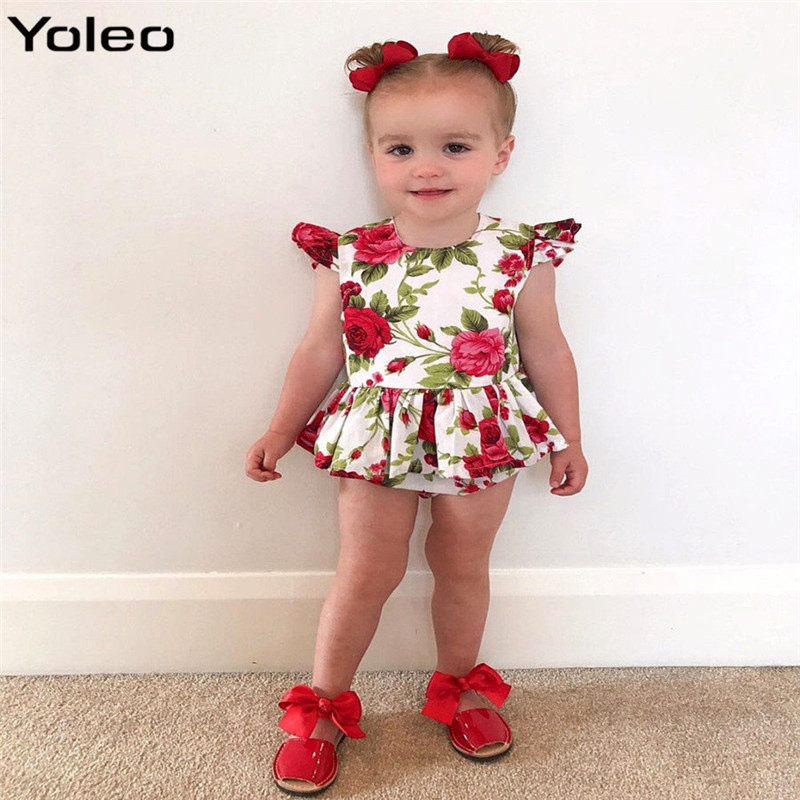 1fa9fb684d62 Summer New Born Baby Girl Clothes Cute Floral Print Baby Girl Romper Summer  Sleeveless Jumpsuit Dress