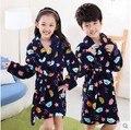 New 2015 Fall Winter Style Children Fashion Soft Coral Fleece Night Robe Boys Girls Bathrobe Kid Sleepwear Bathing Clothing G78