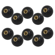 10pcs M6 x 25mm Ball Knob Copper Insert Machine Tool Replacement 6mm Thread 25mm Ball Diameter Bakelite Black Ball Lever Knob