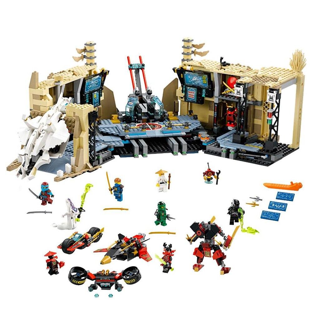 70596 Ninja Samurai X Cave Chaos Model Building Blocks 1253 Piece Bricks Boys Birthday Gifts kids Educational Toys For Children-in Blocks from Toys & Hobbies    1