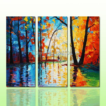 modern design 3 pieces/set  palette knife forest group oil painting  on canvas for living room wall decor