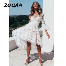 ZOGAA White Lace Evening Party Dresses Women 2019 Lady Elegant Boho Summer Long Frocks Dress for robe boheme chic Vestidos