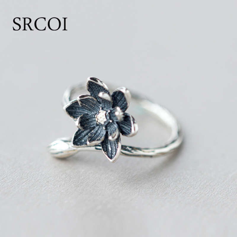 SRCOI New Fahion Lotus Flower Rings in Antique Sterling Silver Jewelry Ethnic Black Lotus Blossom Open Silver Ring female 925