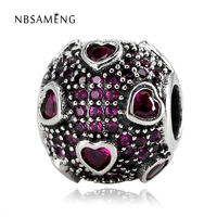 100 Authentic 925 Sterling Silver Beads Pave Pink Heart Crystal Charms Fit Original Pandora Bracelet Women