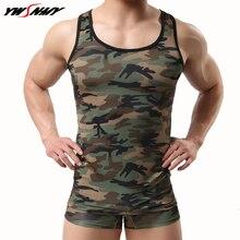 Vest+Boxer Sets Sexy Men Tank Tops Camouflage vest Spandex Fitness Singlets Undershirts Exotic sheer Camo Underwear Lingerie Set