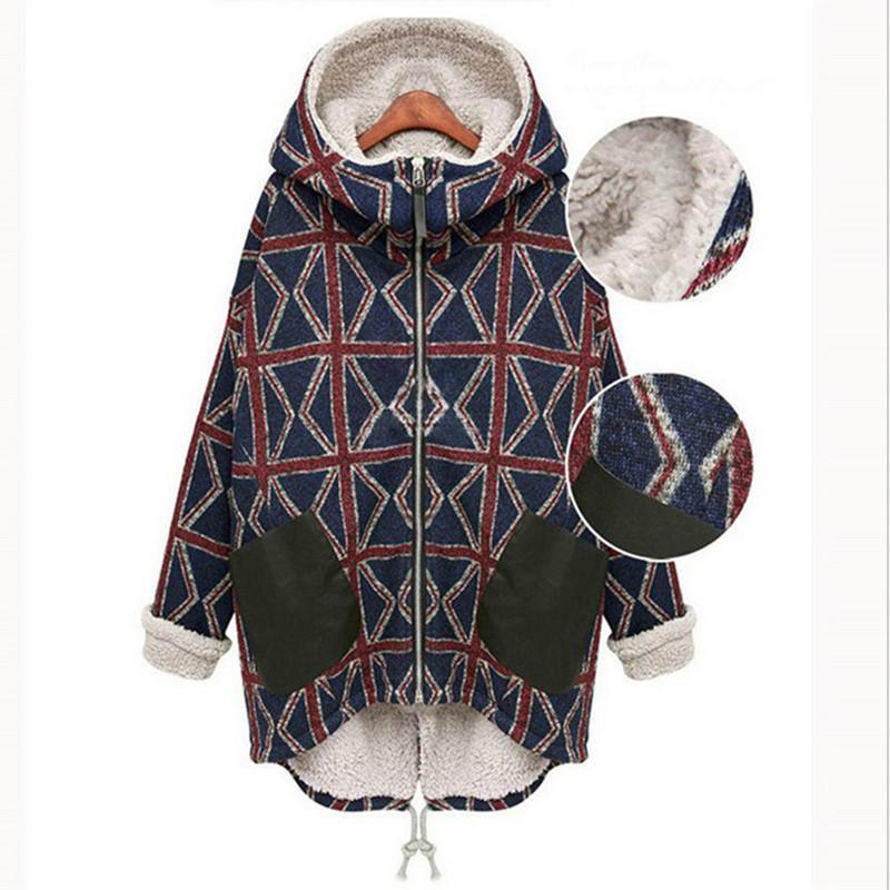 ФОТО New winter thick women coat long section winter coat fashion printing big size plus velvet warm coat jacket