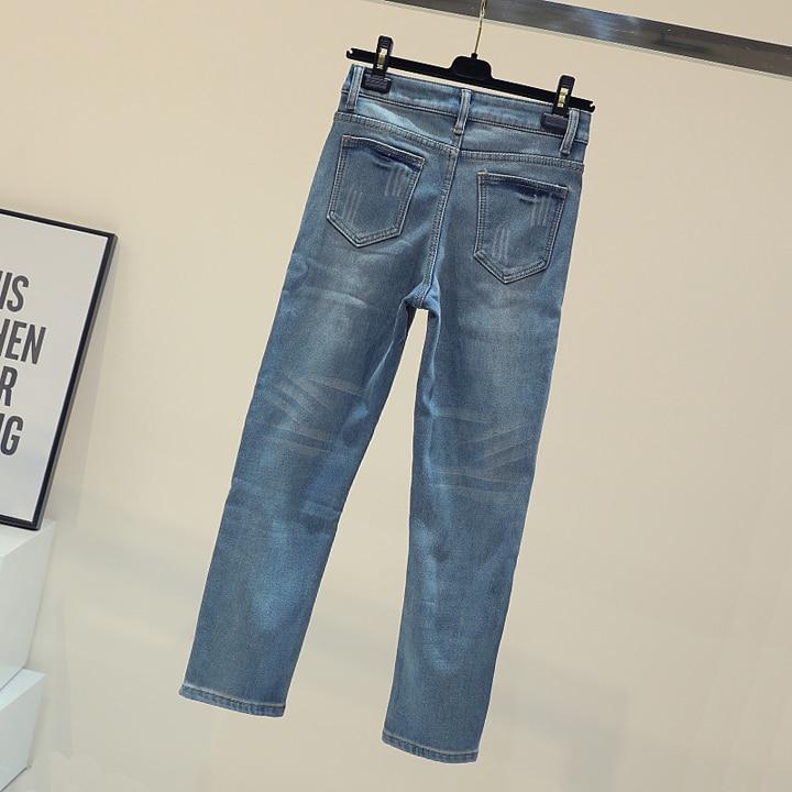 Moda Estudiantes Señora De High Jeans Cintura Mujeres Vaqueros Denim Skinny Joker Piel Alta Azul Street Pantalones Slim znOWwS6xFx
