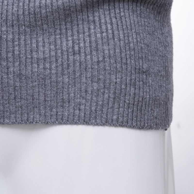 독점적 인 새로운 가을 겨울 남성 솔리드 풀오버 겉옷 남성 니트 긴 소매 높은 칼라 슬림 맞는 니트 스웨터 탑스