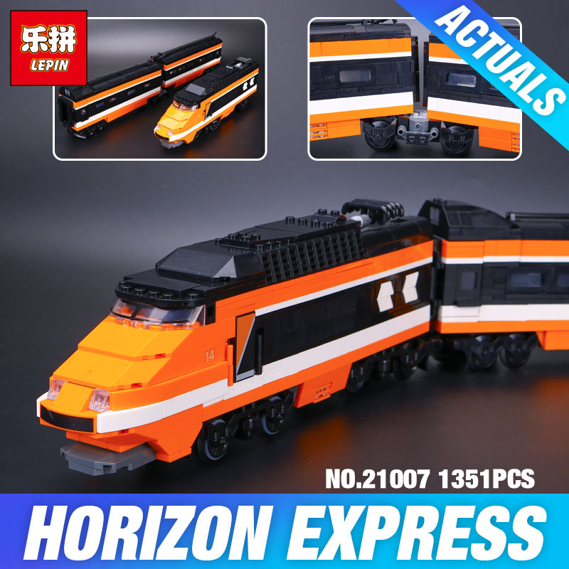 LEPIN 21007 1351Pcs Series Horizon Express Model Building Kit Blocks assemble Bricks Compatible Children Educational Toys 10233 lepin 663pcs ninja killow vs samurai x mech oni chopper robots 06077 building blocks assemble toys bricks compatible with 70642