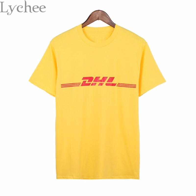 Lychee Summer Women T-shirt DHL Logo Print Casual Loose Short Sleeve T Shirt Harajuku Tee Top