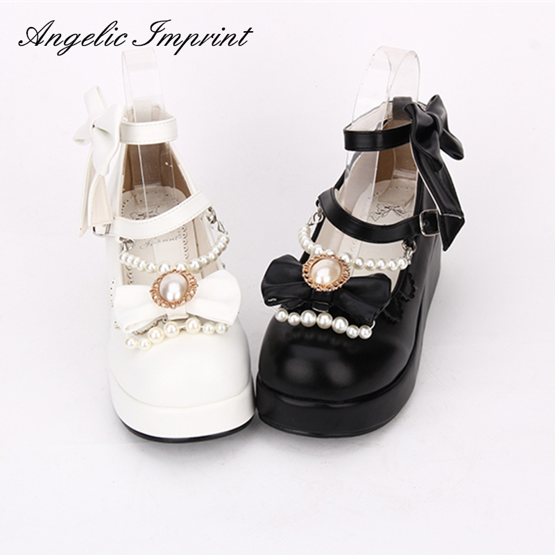 2018 Spring Sweet Lolita Cosplay Shoes Wedge Mary Jane Shoes with Pearls & Bows sky blue red leather princess girl sweet lolita wedge mary jane shoes