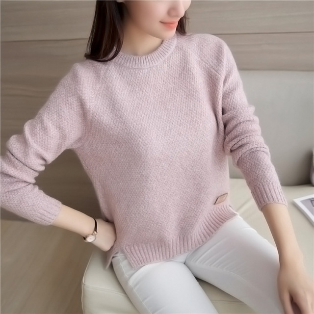 5123bd5c99 Danjeaner Autumn Winter Casual Knitted Sweaters Round Neck Long Sleeve  Solid Women