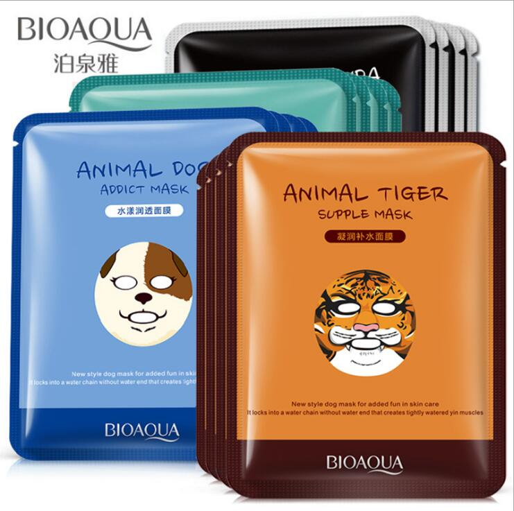 1 Pcs Cute Animal Sheep/Dog/Panda/Tiger Facial Mask Hyaluronic Acid Moisturizing Oil-control Korea Mask Face Care