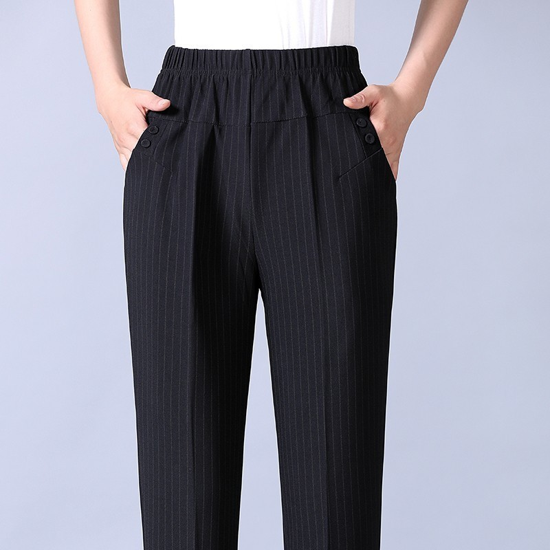 Image 4 - Autumn Winter Middl Aged Women Warm Velvet Elastic Waist Casual Straight Pants Female Trousers Plus Size Clothing-in Pants & Capris from Women's Clothing